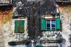 image of louvers  - Wooden window with louvers in old house in the Kotor Montenegro - JPG