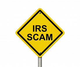 picture of irs  - IRS Scam Warning Sign Yellow warning road sign with word IRS Scam isolated on white - JPG