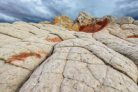 stock photo of plateau  - Plateau from white and red sandstone - JPG