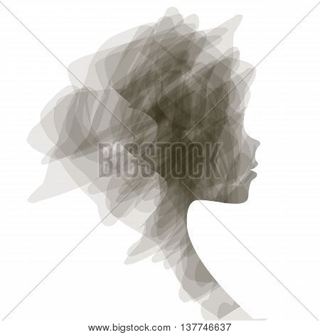 poster of Elegant silhouette greeting card design with illustration of young girl. Fashion profile beauty salon. abstract girl hair. air design concept for beauty salon, spa, massage