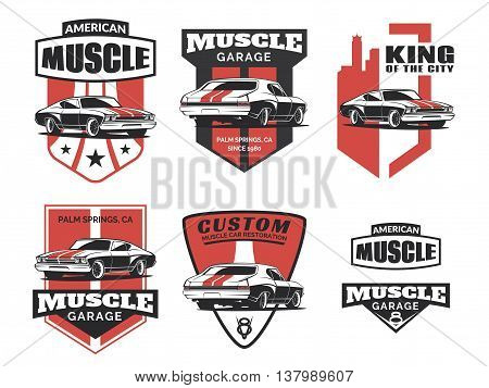 poster of Set of classic muscle car logo emblems badges and icons isolated on white background. Service car repair restoration and car club design elements. Vector.