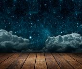 background night sky with stars, moon and clouds. wood floor. Elements of this image furnished by NA poster
