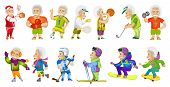 Постер, плакат: Vector set of old man wearing sport uniform and using sports equipment Old man is playing football