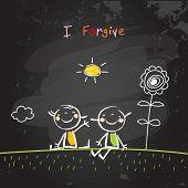 Positive affirmations for kids, motivational, inspirational concept vector illustration. I am forgiv poster