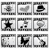film with symbols vector