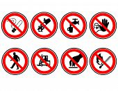 stock photo of warning-signs  - Set of do not do signs in vector format - JPG