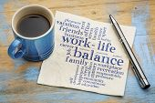 work life balance word cloud - handwriting on a napkin with a cup of coffee poster