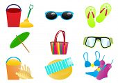 image of monokini  - Vector illustration of beach accessories on a white background - JPG