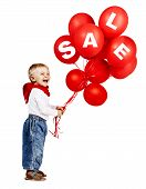 Boy With Red Ballons Sale Sign.
