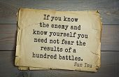 Постер, плакат: Ancient chinese strategist and philosopher Sun Tzu quote on old paper background If you know the en