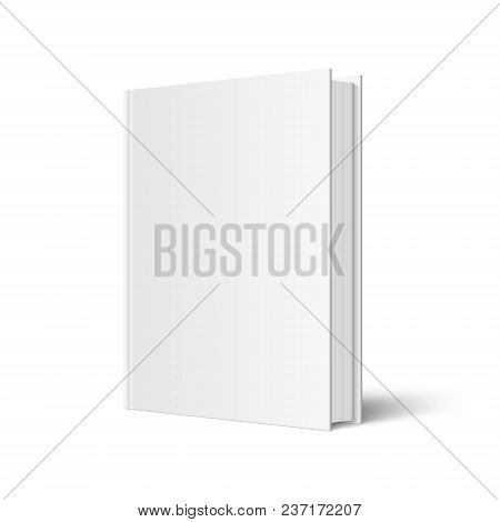 poster of Vector Mock Up Of Standing Book With White Blank Cover Isolated. Closed Vertical Hardcover Book, Cat