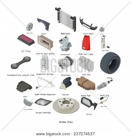 Car Parts Icons Set Isometric Illustration Of 25 Car Parts Vector