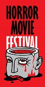 Vector Banner For Festival Horror Movie. Severed Human Head With Blood Tears In A Puddle Of Blood. S poster