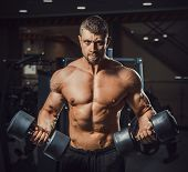 European Caucasian Athletic Man Bodybuilder Holding Dumbell And Showing His Muscular Arms. Man Doing poster