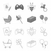 Stroller, Windmill, Lego, Balloons.toys Set Collection Icons In Outline, Monochrome Style Vector Sym poster