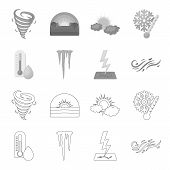 Humidity, Icicles, Thunderbolt, Windy Weather. Weather Set Collection Icons In Outline, Monochrome S poster