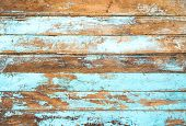 Vintage Beach Wood Background - Old Weathered Wooden Plank Painted In Blue Color. poster