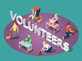 Volunteers And Animals, Dogs And Cats  Isometric Composition With Typographic Lettering On Purple Gr poster