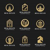 Real Estate Icon Set. Real Estate Logo. House Icon. House Logo. Property Logo. Home Icon. Hotel Logo poster