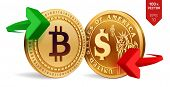 Bitcoin To Dollar Currency Exchange. Bitcoin. Dollar Coin. Cryptocurrency. Golden Coins With Bitcoin poster