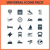 Journey Icons Set With Tent, Train, Aircraft And Other Scuba Elements. Isolated Vector Illustration  poster