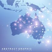 Abstract Map Of Australia Country Global Network Connection. Vector Background Technology Futuristic poster