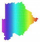 Постер, плакат: Hexagon Spectrum Botswana Map Vector Geographic Map In Bright Colors On A White Background Spectru