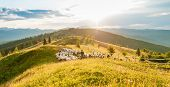 A Herd Of Sheep In The Mountains. Beautiful Mountain Landscape View. Shepherds Home In The Mountains poster