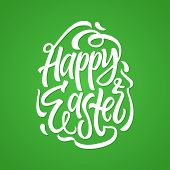 Happy Easter - Vector Hand Drawn Brush Pen Lettering Design On Green Background. High Quality Callig poster