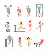 Woman And Man Doing Various Sports Exercises With Gym Equipment. Fitness Cartoon Vector People, Gym  poster