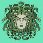 Medusa Head With Snakes Greek Myth Creature Pop Art Retro Vector Illustration. Comic Book Style Imit poster