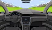 Vehicle Salon, Inside Car Driver View With Rudder, Dashboard And Road, Landscape In Windshield. Driv poster