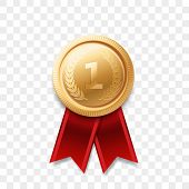 1 Winner Golden Medal Award With Ribbon Vector Realistic Icon Isolated On Transparent Background. Nu poster