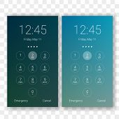 Screen Lock Smartphone Code And Clock Display Background Template. Vector Mobile Phone Security Lock poster