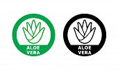 Aloe Vera Label Or Green Leaf Icon For Natural Organic Moisturizing Gel And Lotion. Aloe Vera Leaf C poster