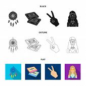 Amulet, Hippie Girl, Freedom Sign, Old Cassette.hippy Set Collection Icons In Black, Flat, Outline S poster