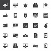 Cyber Crime Vector Icons Set, Modern Solid Symbol Collection, Filled Style Pictogram Pack. Signs Log poster