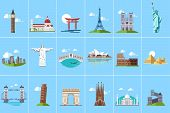 Famous Architectural Landmarks Set, Popular Travel Historical Landmarks And Buildings Of Different C poster