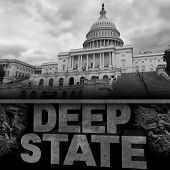 Deep State Politics Concept And United States Political Symbol Of An Underground Government Bureaucr poster