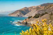 Scenic View Of The Rugged Coastline Of Big Sur With Santa Lucia Mountains And Big Creek Bridge Along poster