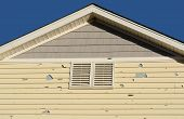 Holes In Exterior Siding In Home From Damage By Hail Storm poster