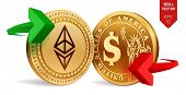 Ethereum To Dollar Currency Exchange. Ethereum. Dollar Coin. Cryptocurrency. Golden Coins With Ether poster