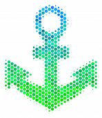 Halftone Circle Anchor Pictogram. Pictogram In Green And Blue Color Hues On A White Background. Vect poster
