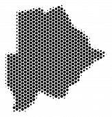 Постер, плакат: Halftone Hexagon Botswana Map Vector Geographic Map On A White Background Vector Collage Of Botswa