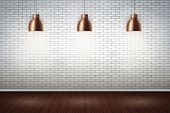 Interior Of White Brick Wall With Vintage Pedant Lamps And Wooden Floor. Vintage Rural Room And Fash poster