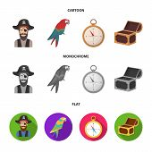 Pirate, Bandit, Hat, Bandage .pirates Set Collection Icons In Cartoon, Flat, Monochrome Style Vector poster