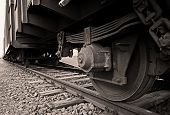 stock photo of duplex  - Wheel of a goods train standing the on rails  - JPG