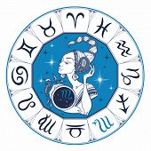 The Scorpio Astrological Sign As A Beautiful Girl. Horoscope. Astrology. Vector poster