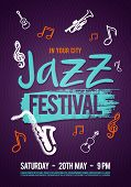 Vector Illustration Jazz Music Poster, Ticket Or Program. Hand Drawn With Brush Strokes For Jazz Fes poster