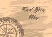 Find Your Way Banner With Retro Compass Windrose On Grunge Background. Geography Research, Worldwide poster